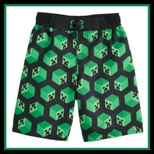 036497705d Boys Minecraft Creeper Swim Trunks Sz 4